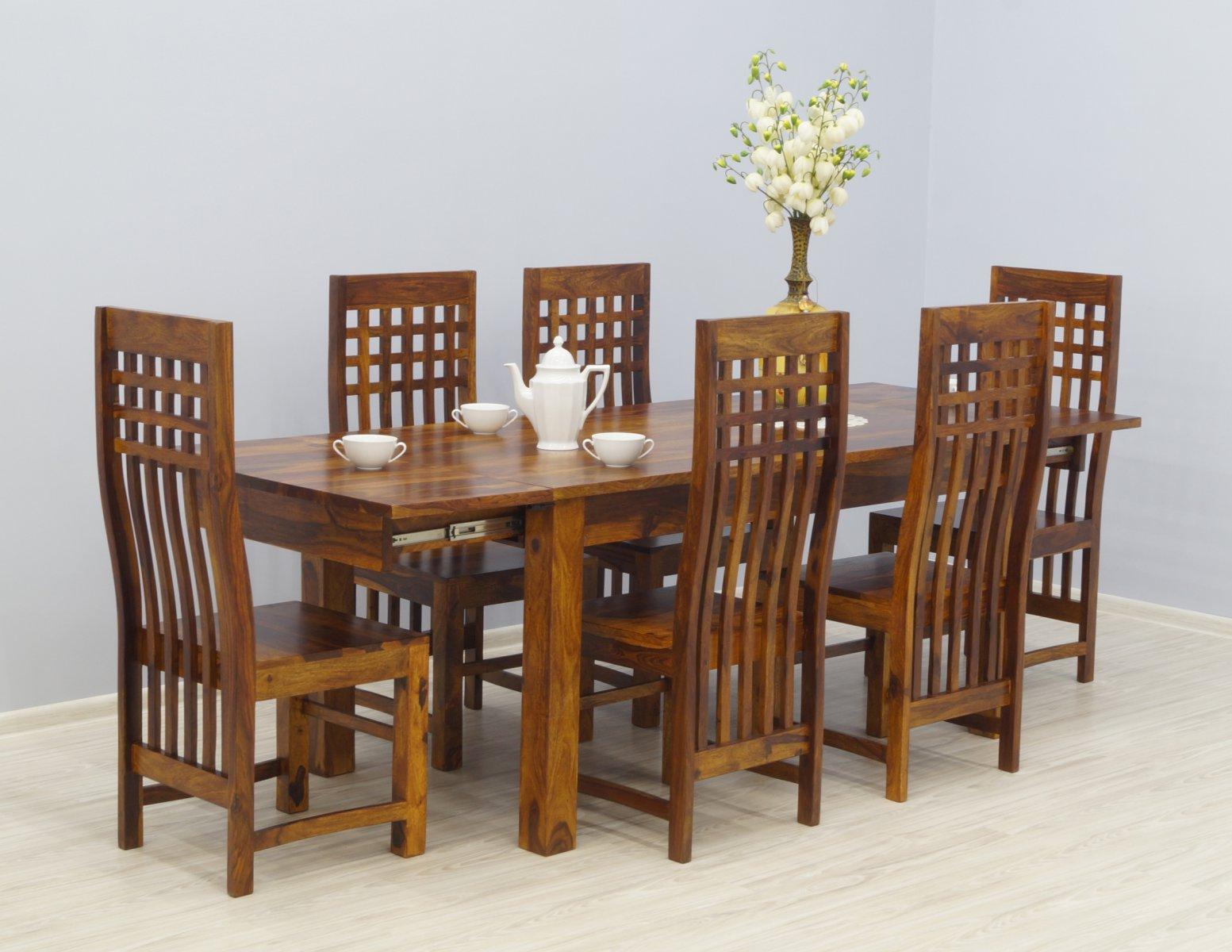 Komplet obiadowy kolonialny stół rozkładany + 6 krzeseł lite drewno palisander miodowy brąz nowoczesny
