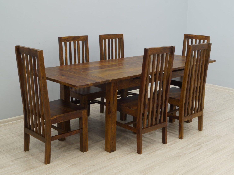 Komplet obiadowy kolonialny stół rozkładany + 6 krzeseł lite drewno palisander nowoczesny