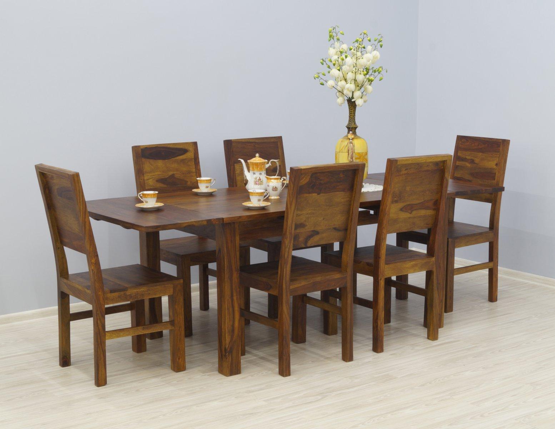 Komplet obiadowy kolonialny stół rozkładany + 6 krzeseł pełne oparcia lite drewno palisander jasny brąz