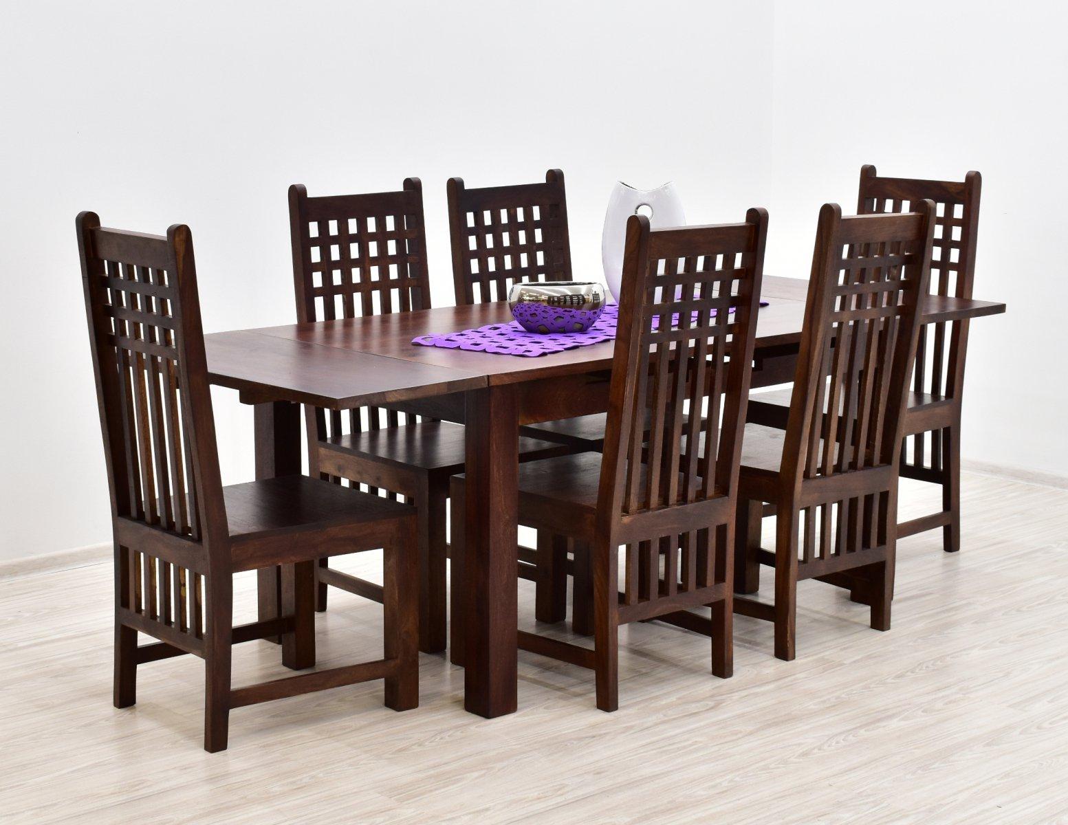 Komplet obiadowy kolonialny stol rozkladany 6 krzesel lite drewno palisander indyjski ciemny braz (17)