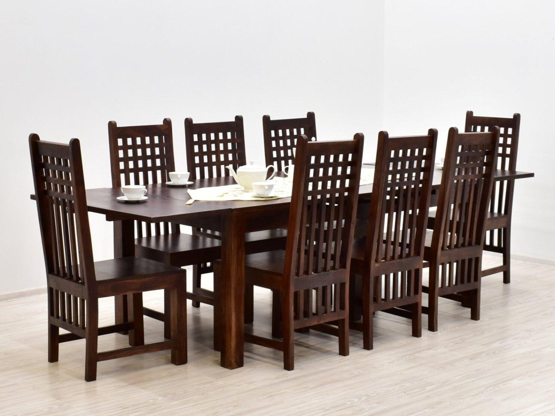 Komplet obiadowy kolonialny stol rozkladany 8 krzesel lite drewno palisander indyjski ciemnobrazowy (1)