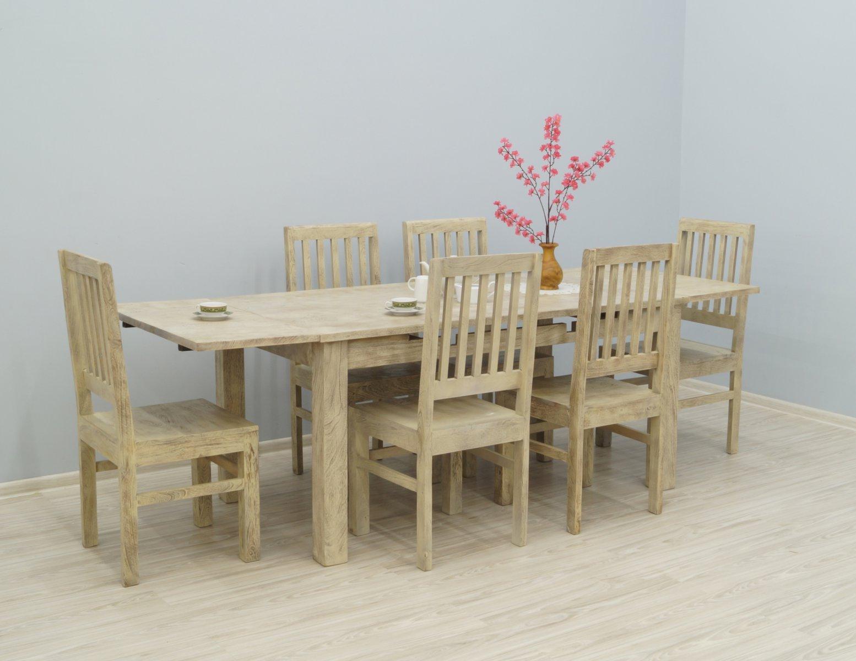 Komplet obiadowy rozkładany stół + 6 krzeseł bielony przecierany
