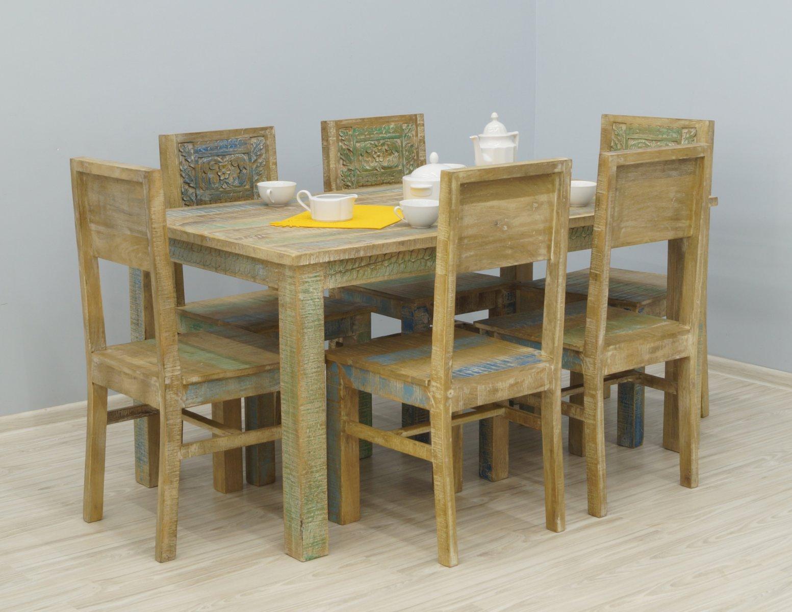 Komplet obiadowy stół + 6 krzeseł kolonialny lite drewno mango styl Shabby Chic