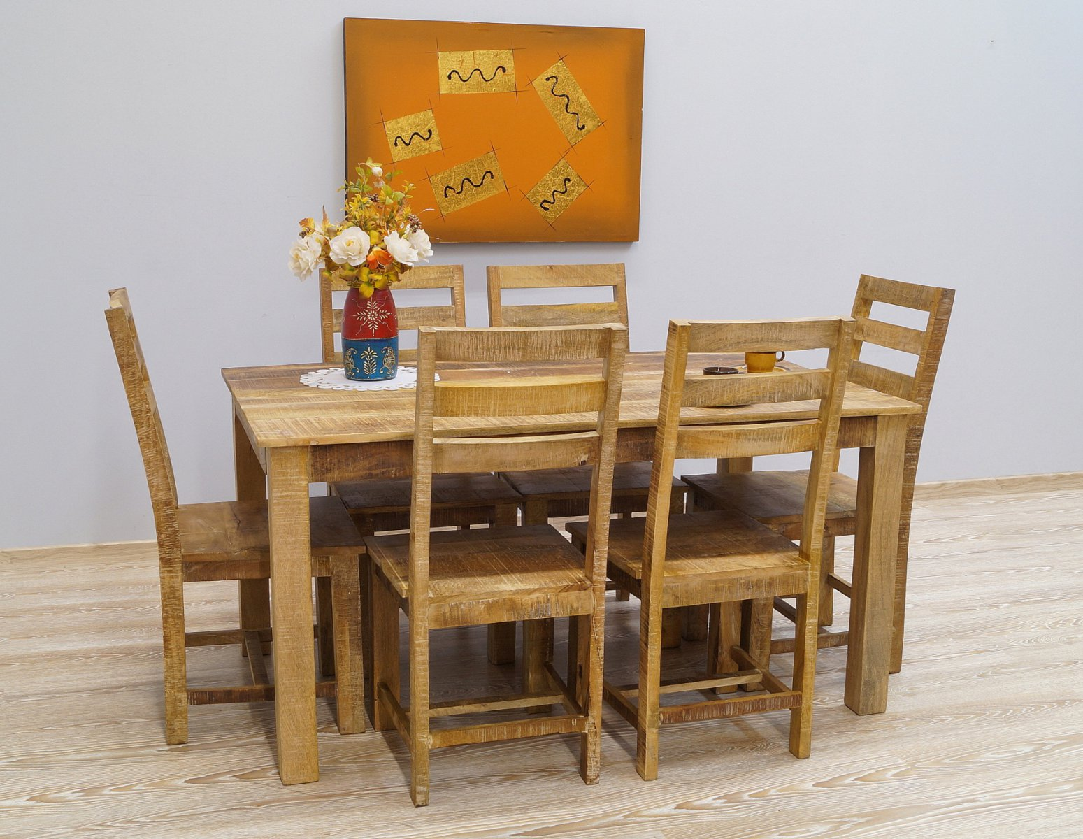 Komplet obiadowy stół + 6 krzeseł lite drewno mango styl Loft