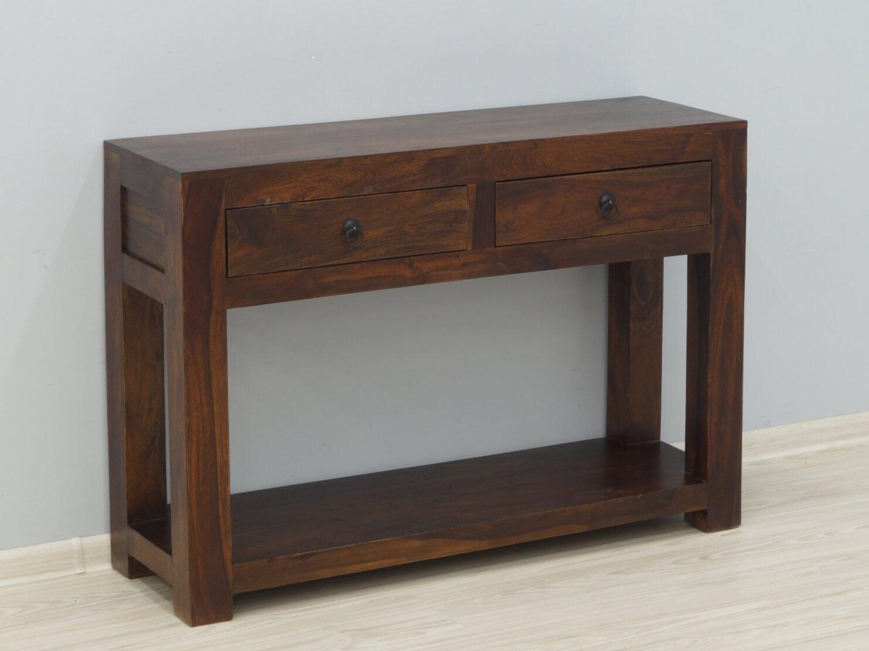 Konsola kolonialna lite drewno palisander indyjski 2 szuflady masywna klasyczna