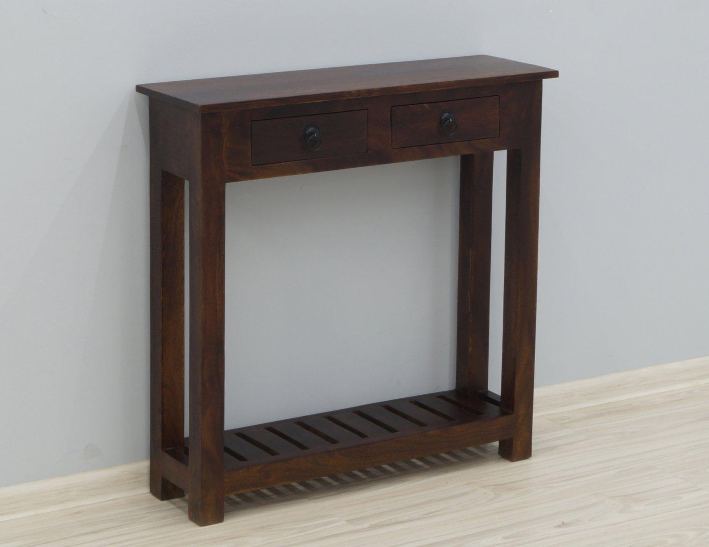 Konsola kolonialna lite drewno palisander indyjski 2 szuflady półka