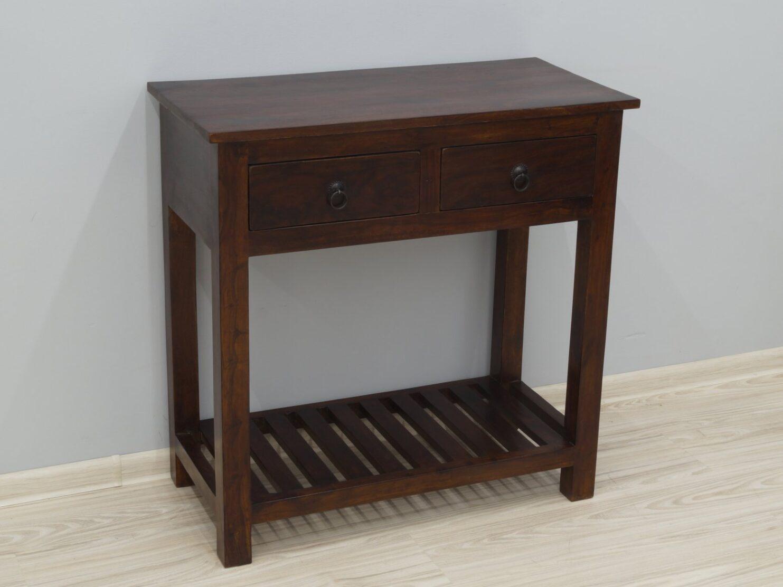 Konsola kolonialna lite drewno palisander indyjski 2 szuflady półka ciemny brąz klasyczna