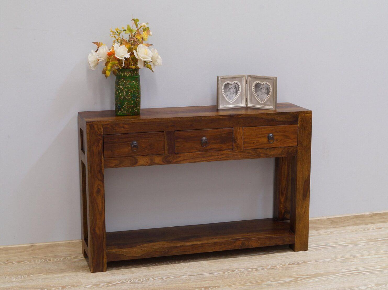 Konsola kolonialna lite drewno palisander indyjski z szufladami nowoczesna