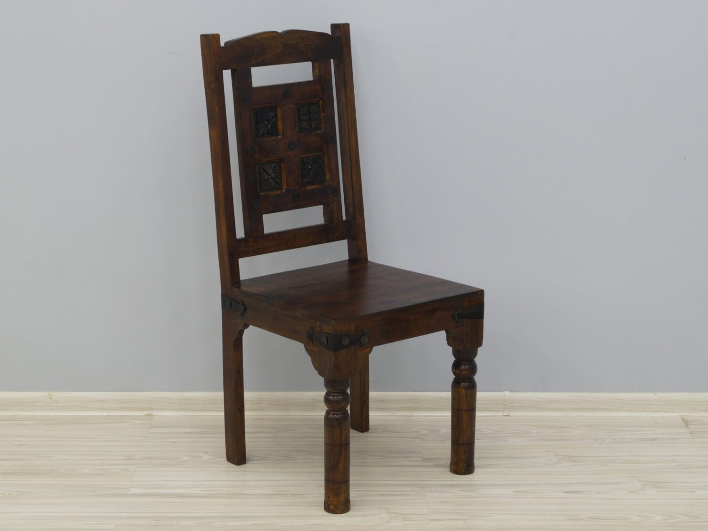 Krzesło kolonialne lite drewno akacja indyjska rzeźbione ciemny brąz