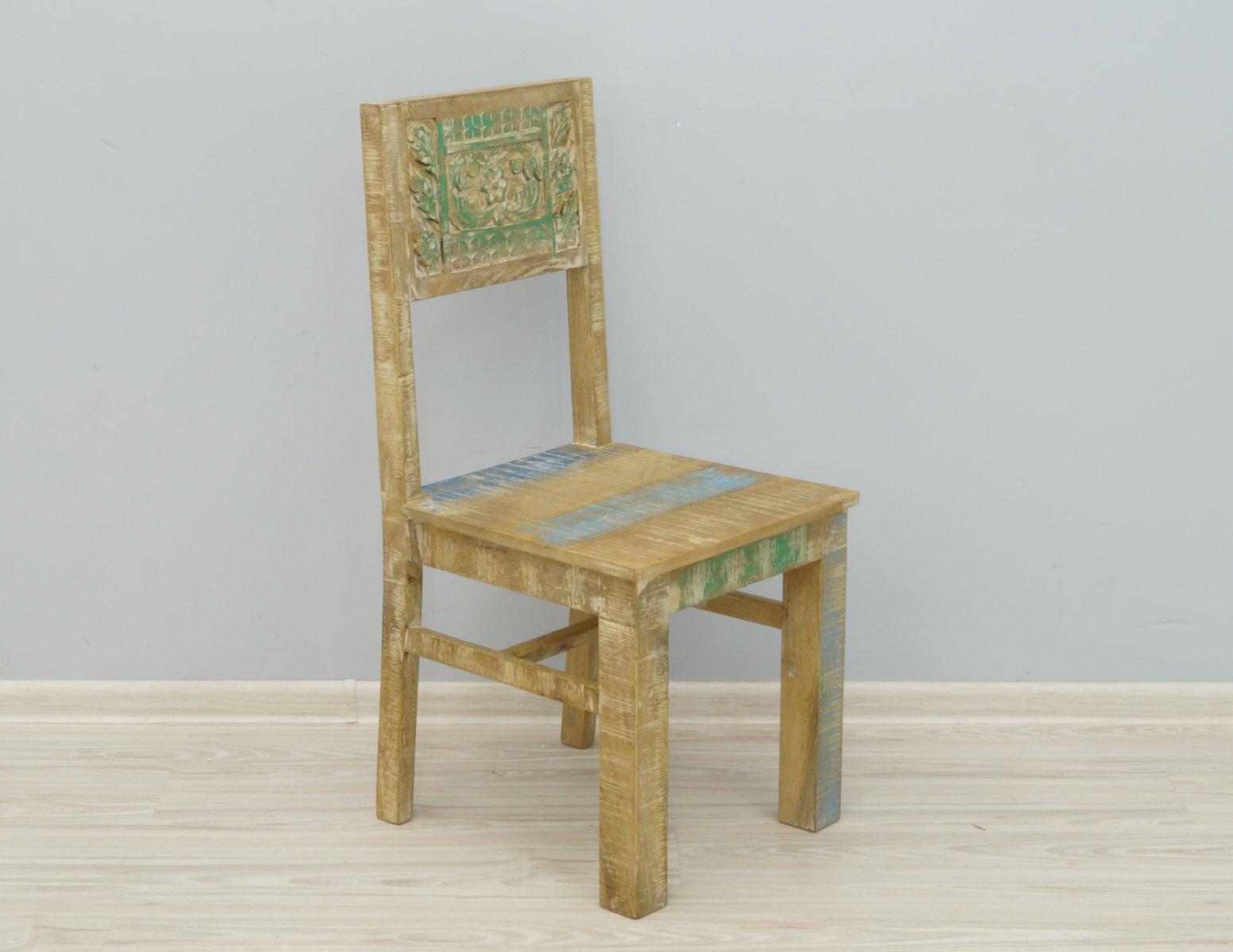Krzesło kolonialne lite drewno mango styl Shabby Chic