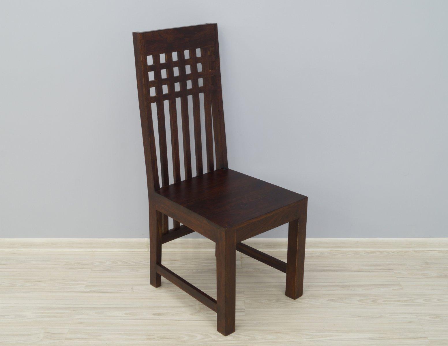 Krzesło kolonialne lite drewno palisander indyjski ciemny brąz wysokie oparcie