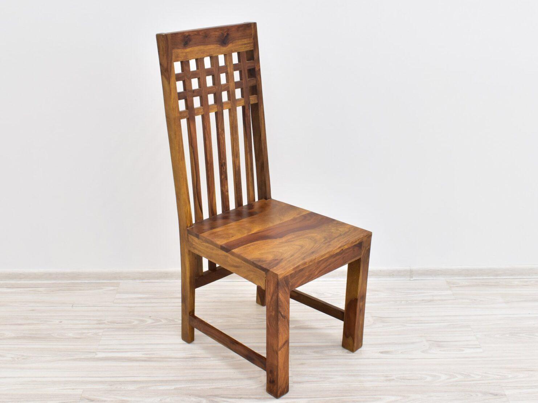 Krzesło kolonialne lite drewno palisander indyjski jasny brąz wysokie oparcie