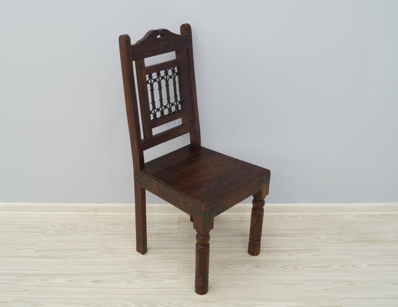 Krzesło kolonialne lite drewno palisander indyjski metaloplastyka