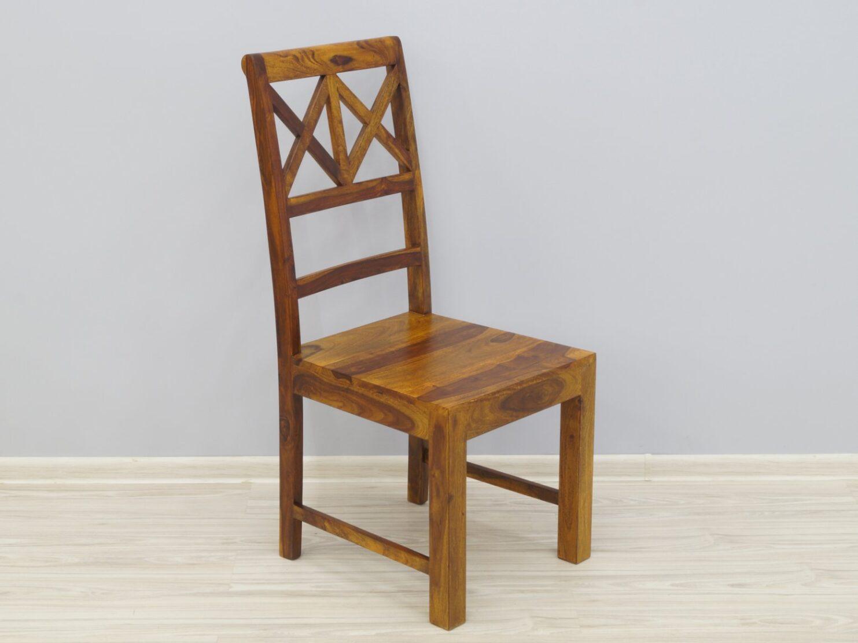 Krzesło kolonialne lite drewno palisander indyjski miodowy brąz ażurowe oparcie