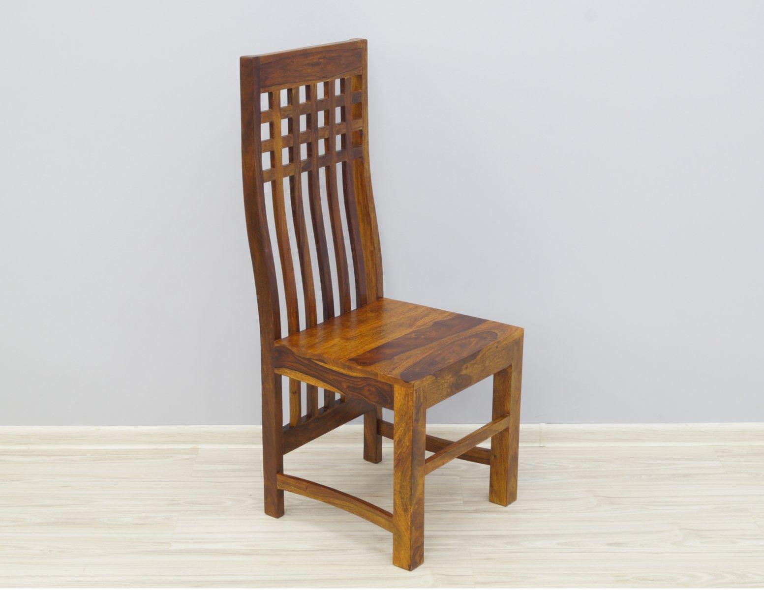 Krzesło kolonialne lite drewno palisander indyjski miodowy brąz nowoczesne