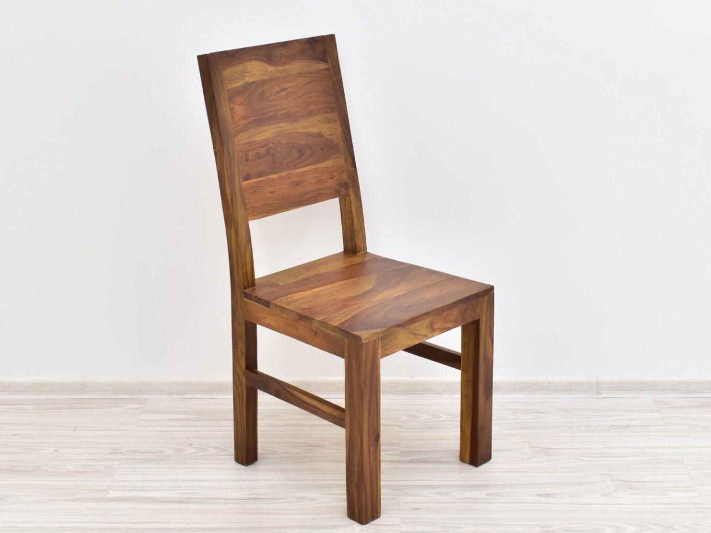 Krzesło kolonialne lite drewno palisander indyjski pełne oparcie jasny brąz