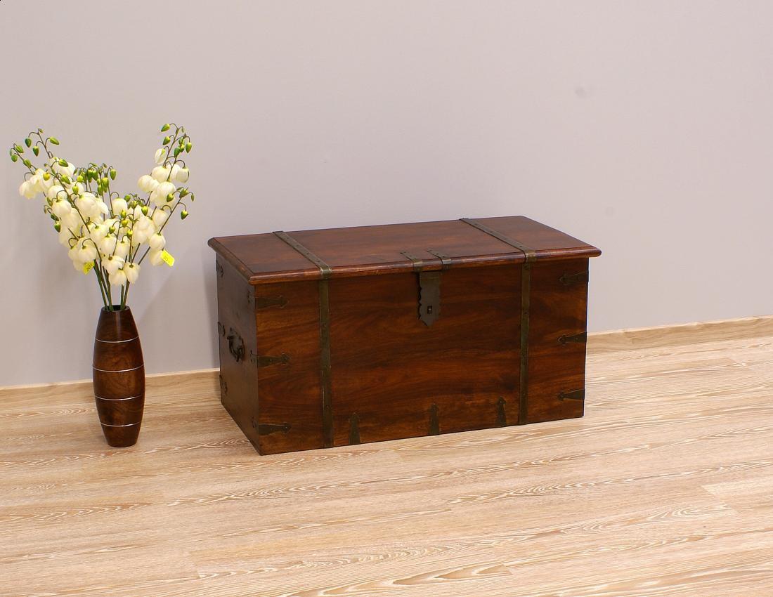 Kufer kolonialny lite drewno palisander indyjski ciemny brąz metalowe okucia