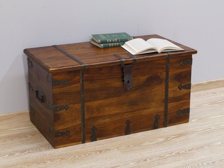Kufer kolonialny lite drewno palisander indyjski jasny brąz metalowe okucia nowoczesny