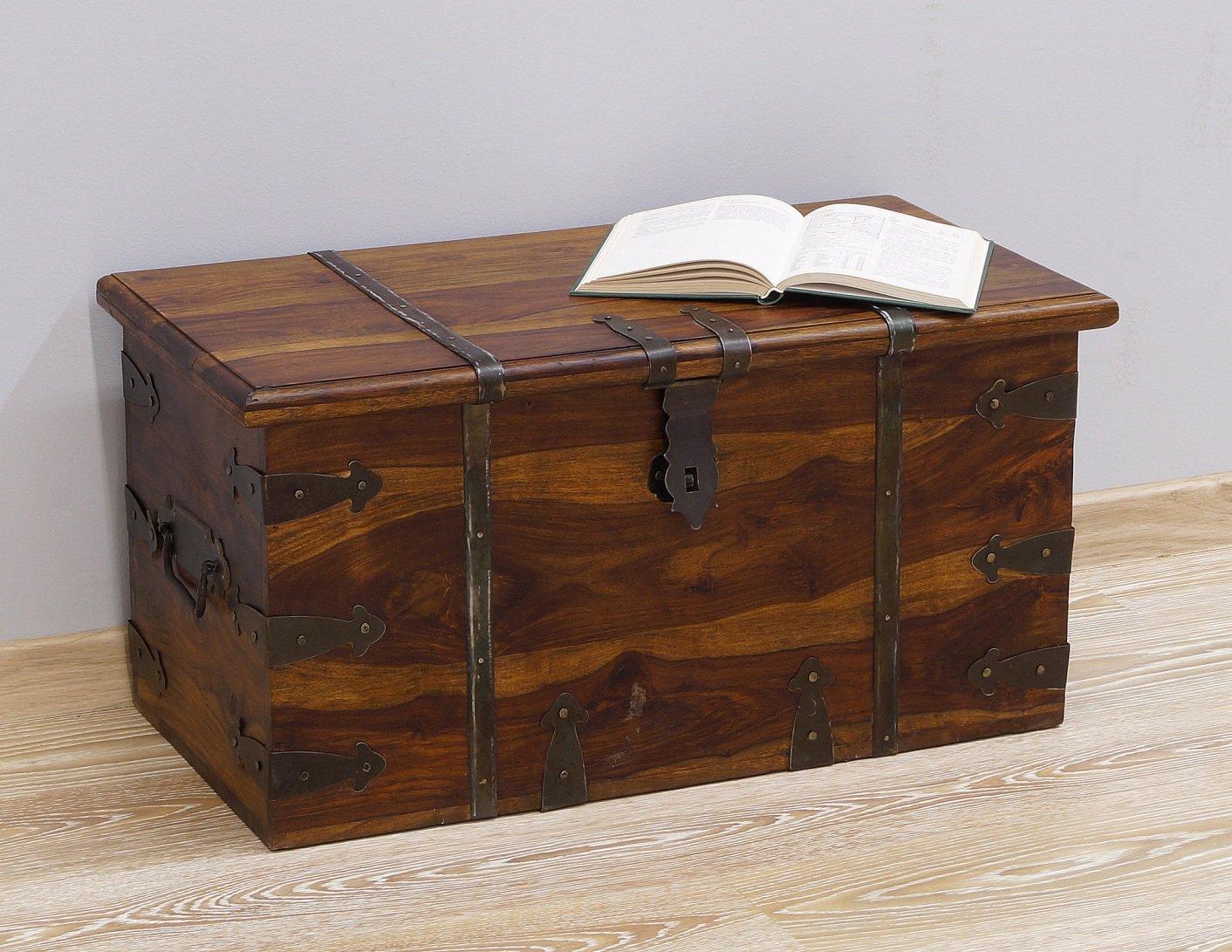 Kufer kolonialny lite drewno palisander indyjski metalowe okucia jasny brąz nowoczesny