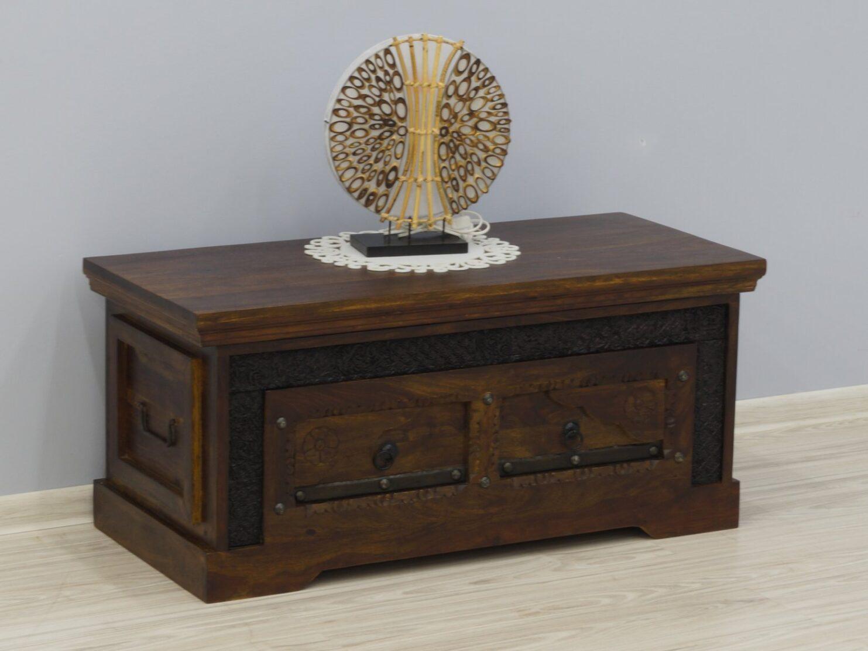 Kufer kolonialny lite drewno palisander indyjski ręcznie rzeźbiony