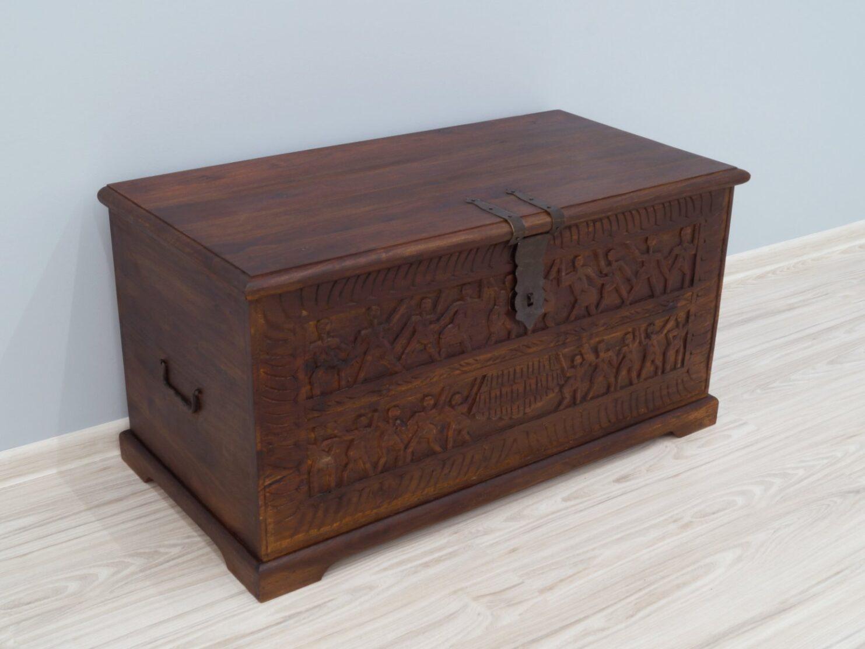 Kufer kolonialny lite drewno palisander indyjski rzeźbiony mały ciemny brąz
