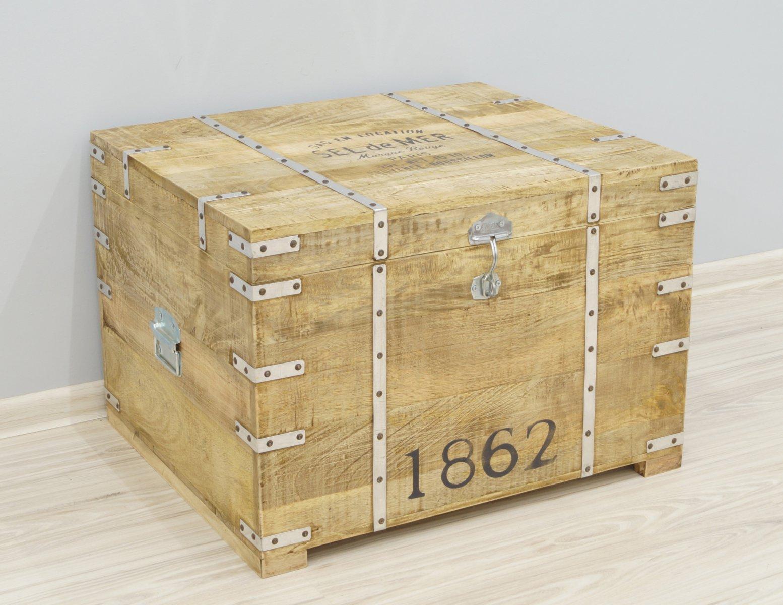 Kufer kolonialny skrzynia egzotyczna lite drewno mango styl Loft metalowe detale