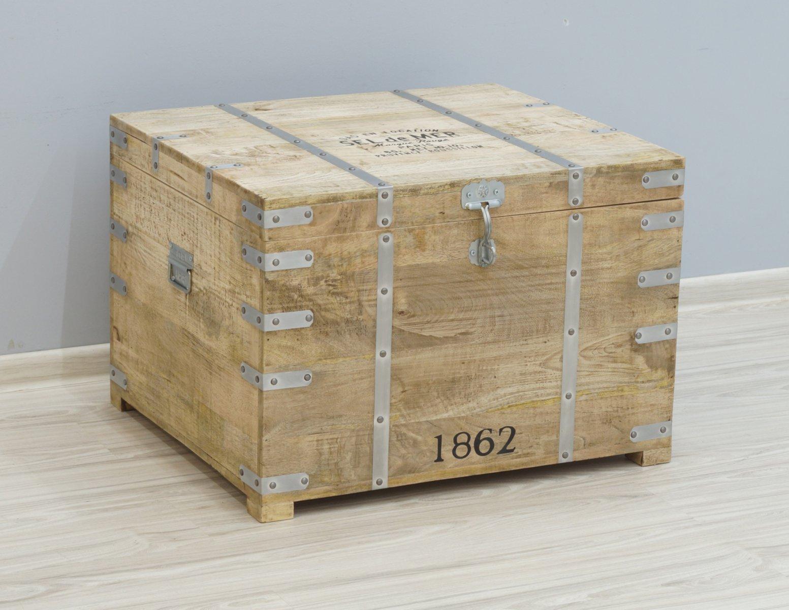 Kufer kolonialny skrzynia egzotyczna lite drewno mango styl Loft metalowe detale masywna
