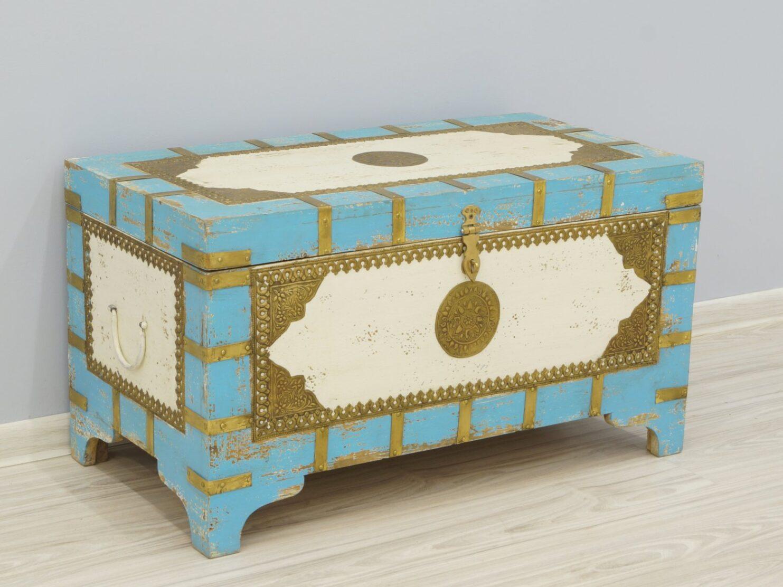 Kufer kolonialny skrzynia lite drewno mango ręcznie malowana