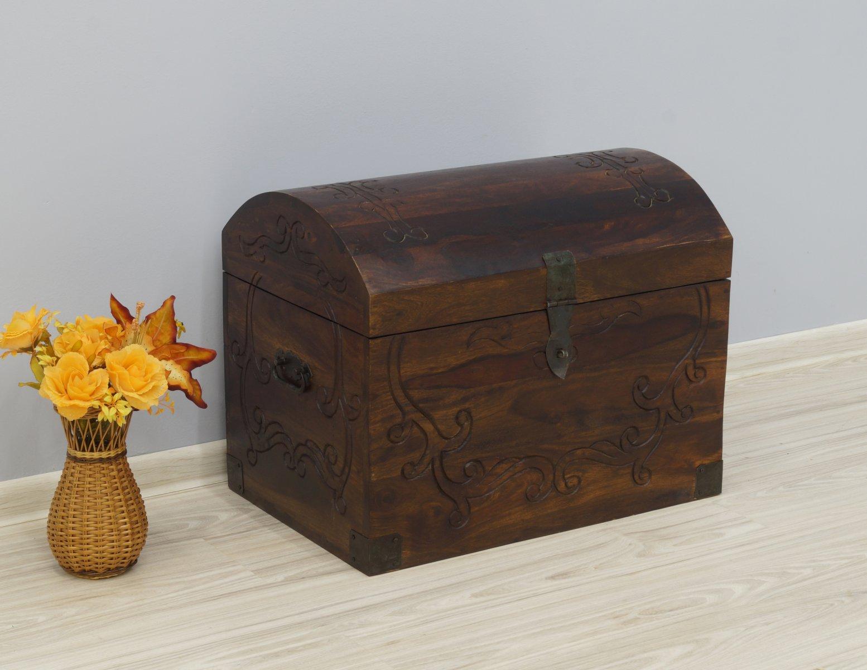 Kufer kolonialny skrzynia lite drewno palisander indyjski rzeźbiona