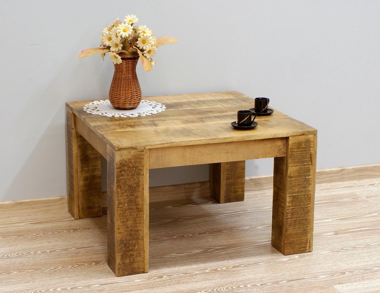 Stolik kawowy kolonialny lite drewno mango kwadratowy styl Loft