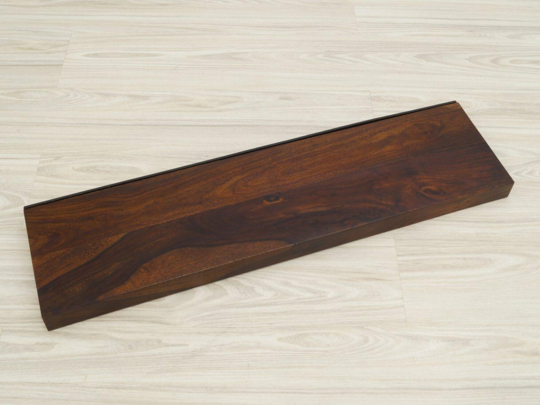 Półka ścienna lite drewno palisander indyjski ciemny brąz 120cm z metalowym stelażem