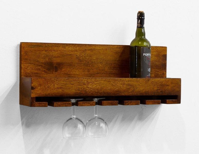 Półka na wino ścienna kolonialna palisander indyjski miodowy brąz