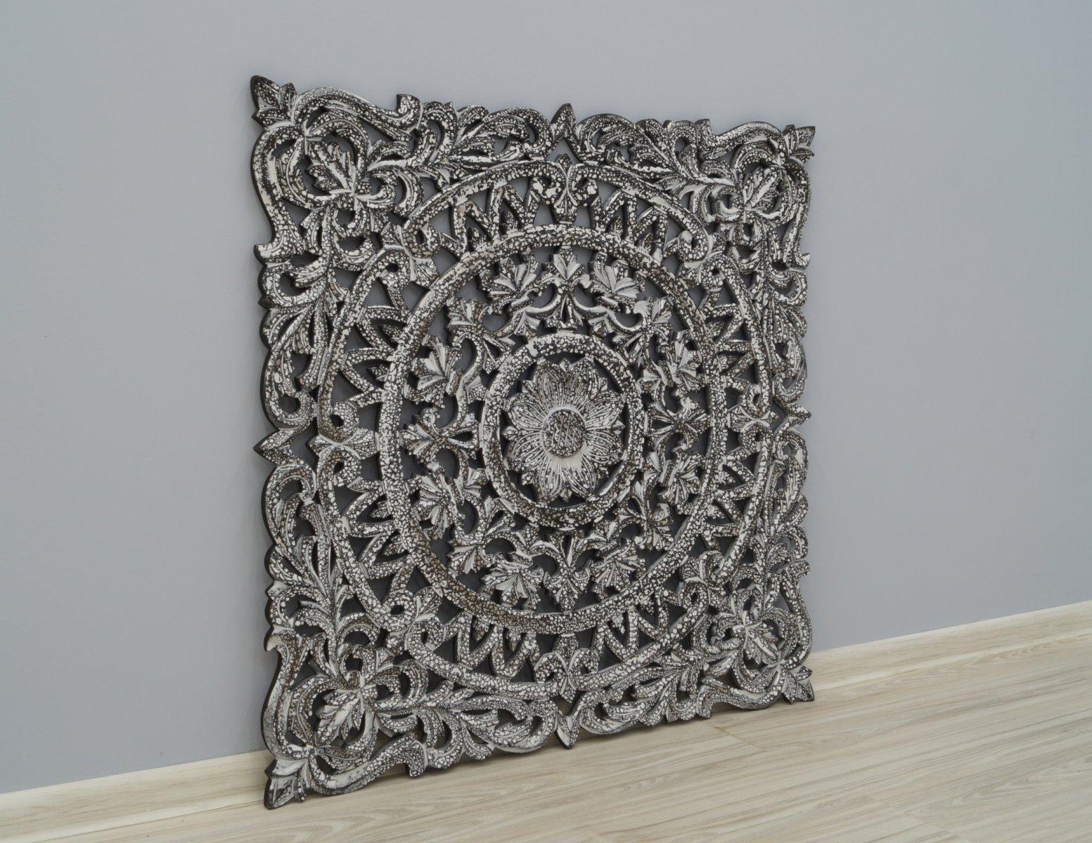 Panel ścienny dekoracyjny wykonany ręcznie ażurowy szary kwadratowy