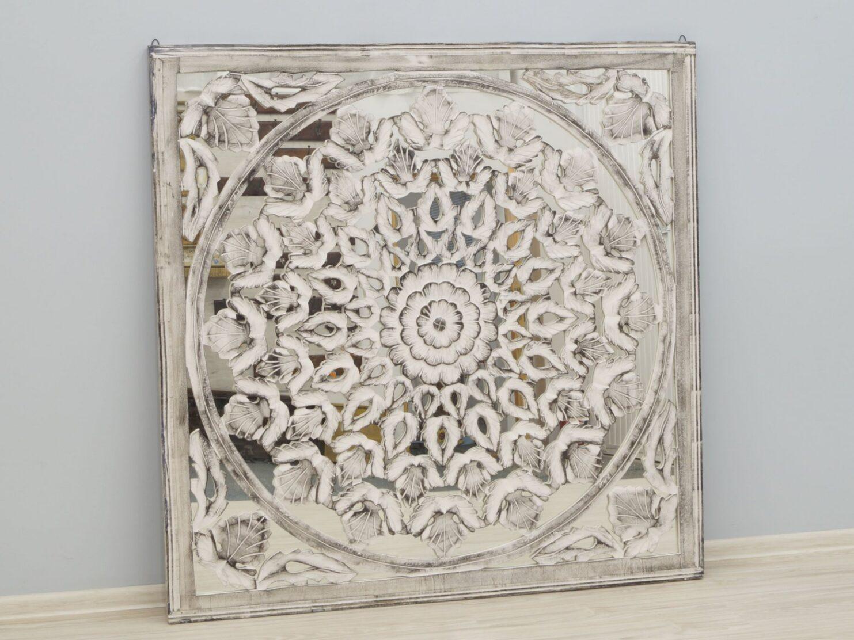 Panel ścienny dekoracyjny wykonany ręcznie bielony ażurowy z lustrem kwadratowy