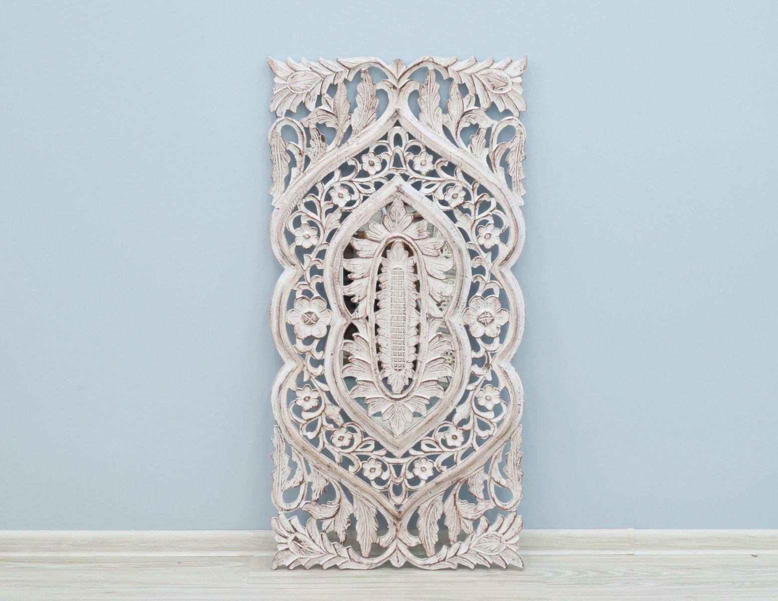 Panel ścienny dekoracyjny wykonany ręcznie bielony unikatowy