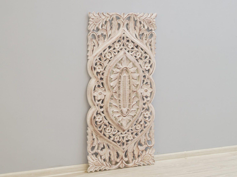 Panel ścienny dekoracyjny wykonany ręcznie bielony wysoki