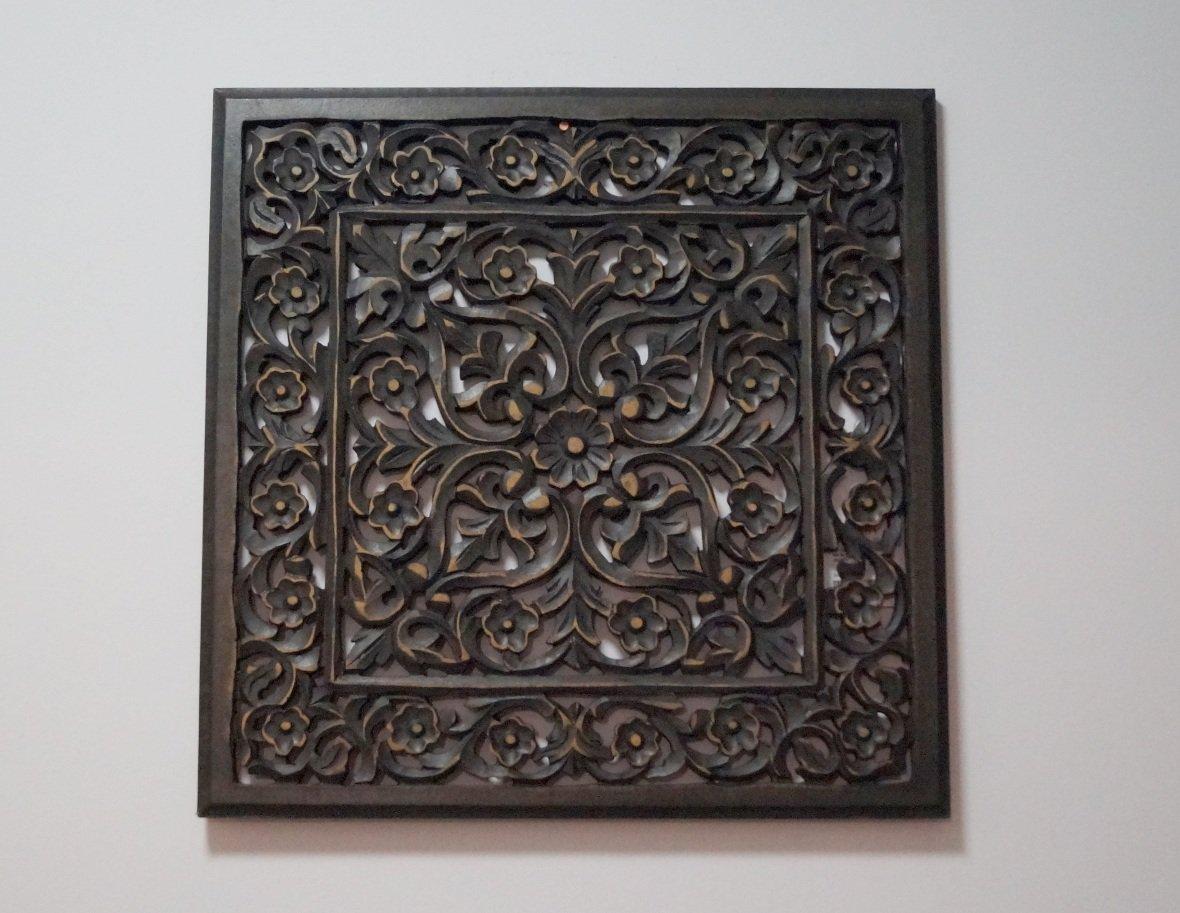 Panel ścienny dekoracyjny wykonany ręcznie ciemnobrązowy ażurowy kwadratowy