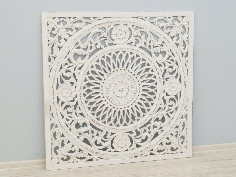 Panel ścienny indyjski ażurowy wykonany ręcznie bielony