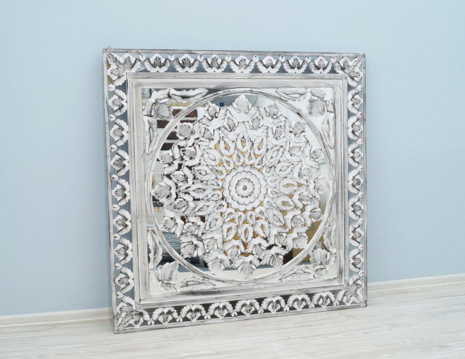 Panel ścienny indyjski dekoracyjny ażurowy z lustrem bielony przecierany kwadratowy