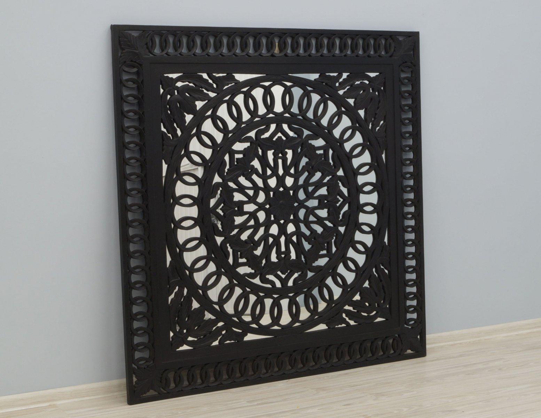 Panel ścienny indyjski dekoracyjny czarny kwadratowy z lustrem masywny