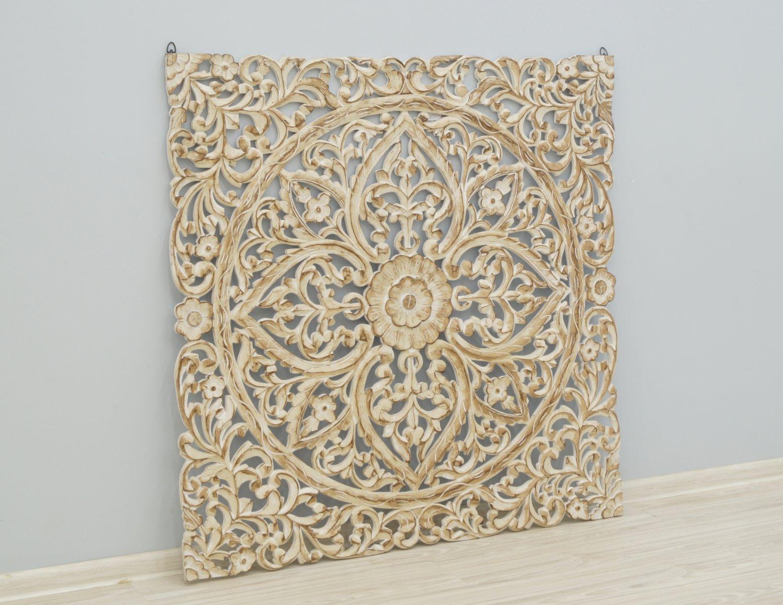 Panel ścienny indyjski dekoracyjny wykonany ręcznie ażurowy bielony kwadratowy