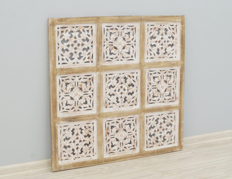 Panel ścienny indyjski dekoracyjny wykonany ręcznie ażurowy bielony przecierany kwadratowy