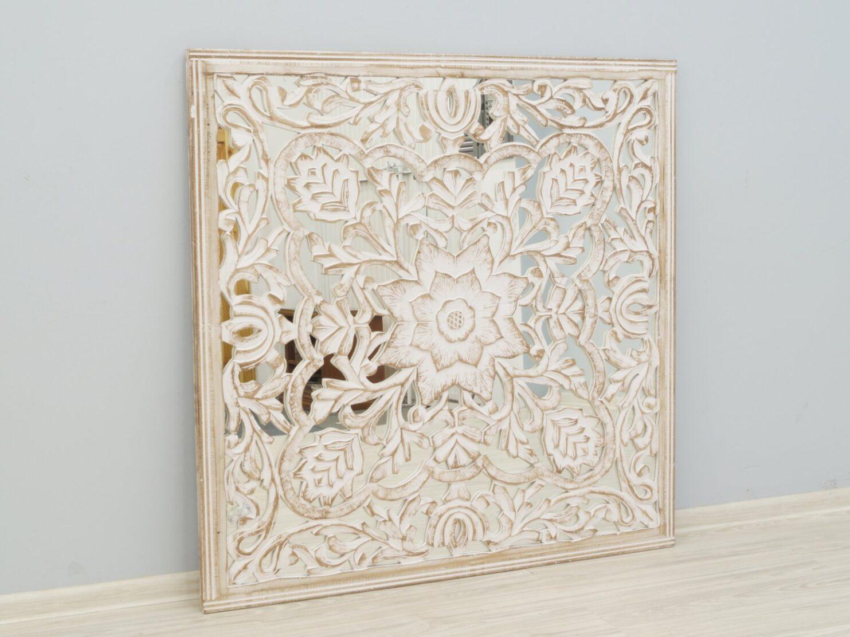 Panel ścienny indyjski dekoracyjny z lustrem bielony przecierany kwadratowy