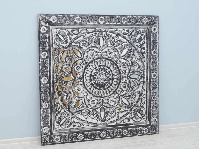 Panel ścienny indyjski dekoracyjny z lustrem szary przecierany kwadratowy