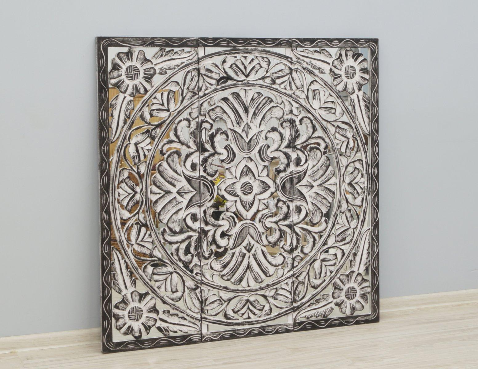 Panel ścienny indyjski tryptyk wykonany ręcznie malowany z lustrem
