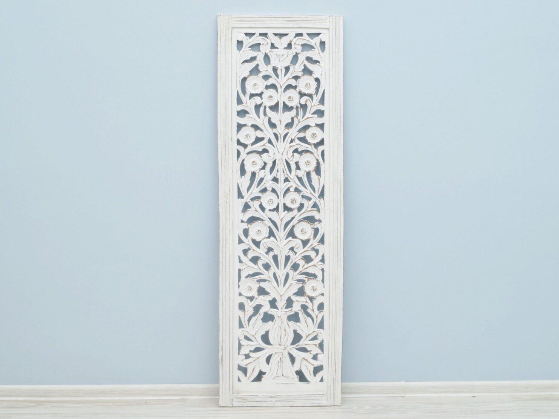 Panel ścienny wykonany ręcznie biały prostokątny