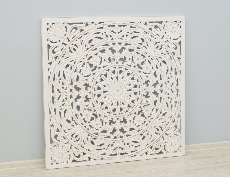 Panel ścienny wykonany ręcznie bielony