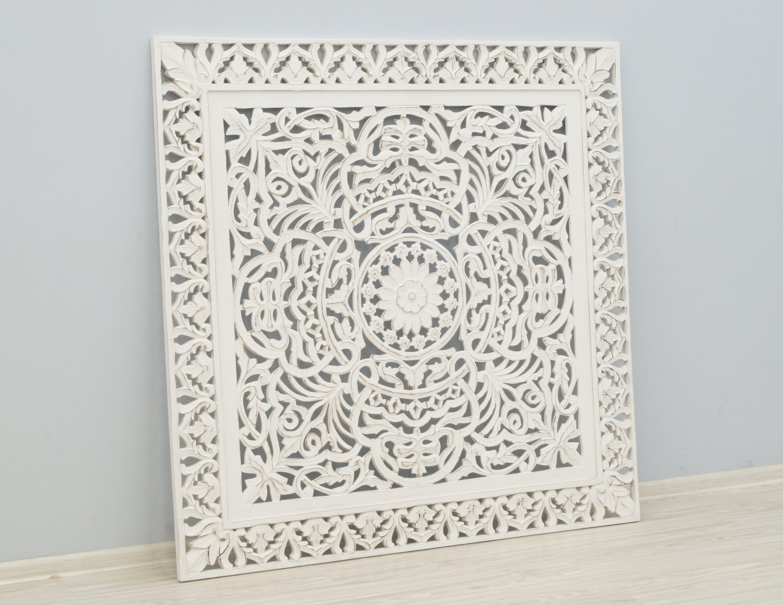 Panel ścienny wykonany ręcznie bielony przecierany