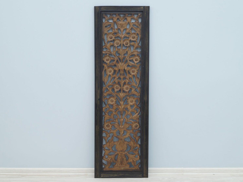 Panel ścienny wykonany ręcznie brązowy prostokątny