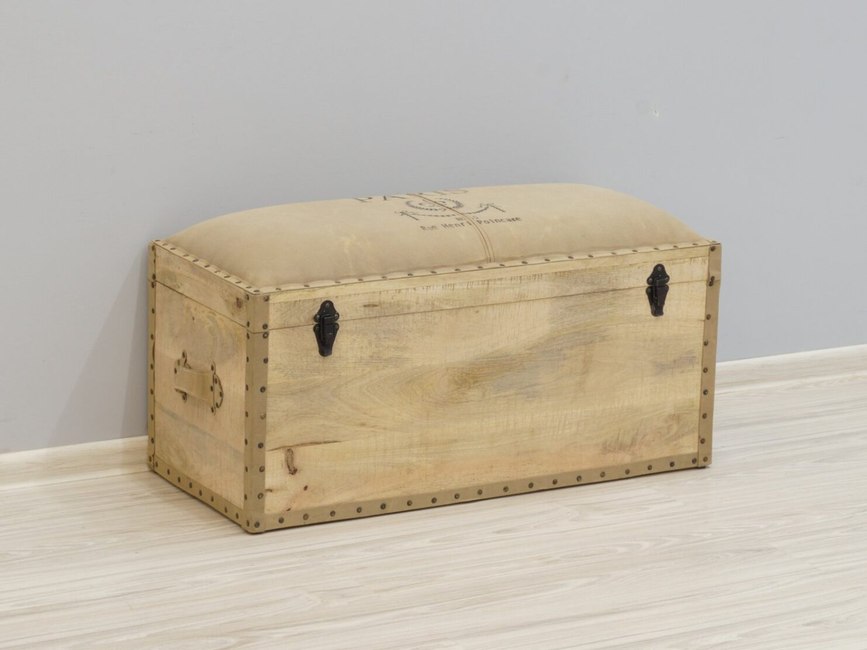 Pufa skrzynia tapicerowane siedzisko lite drewno mango styl industrialny Loft